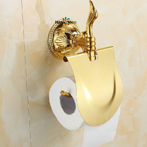 PVD-Ti Golden luxury brass & zinc-alloy paper box roll holder toilet gold paper holder tissue box Bathroom Accessories