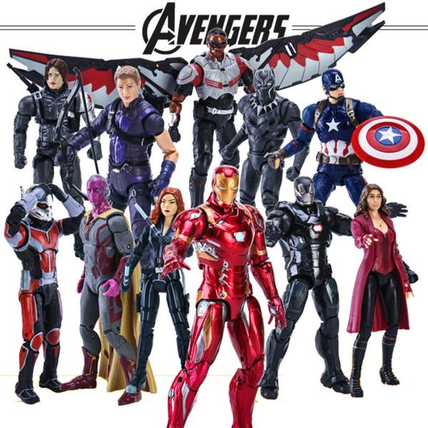 brinquedo para o homem Avengers Endgame Captain America Black Panther Visão Falcon Homem de Ferro PVC Action Figure brinquedo