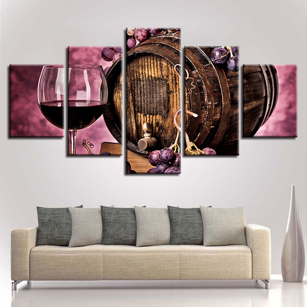 Home Decor Framework Canvas Painting Wall Art HD Prints Oak Barrel Poster 5 Pieces Purple Grapes Red Wine Glass Pictures Kitchen