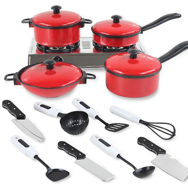 13 Adet / takım Çocuk Mini Mutfak Tencere Pot Pan Çocuklar Cook Oyna Pretend Oyuncak Simülasyon Mutfak Eşyaları Oyuncak Seti Çocuk Hediye P5