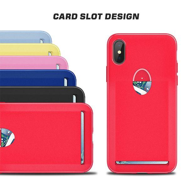 Custodia Ultra Sottile per Carta Solido Solt TPU Antiurto Cover Posteriore per iPhoneXS MAX XR X 8 7 6S Plus Samsung S9 S8 Nota 9 8 LG OPP Aicoo