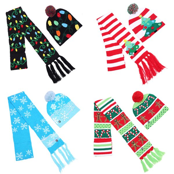 3abc11b7c 2018 Led Knitted Christmas Hat With Scarf Kids Adults Warm Hat New Year  Christmas Decoration Party Tree Snowflake Hat Le168 From Jerry111, $6.32 |  ...