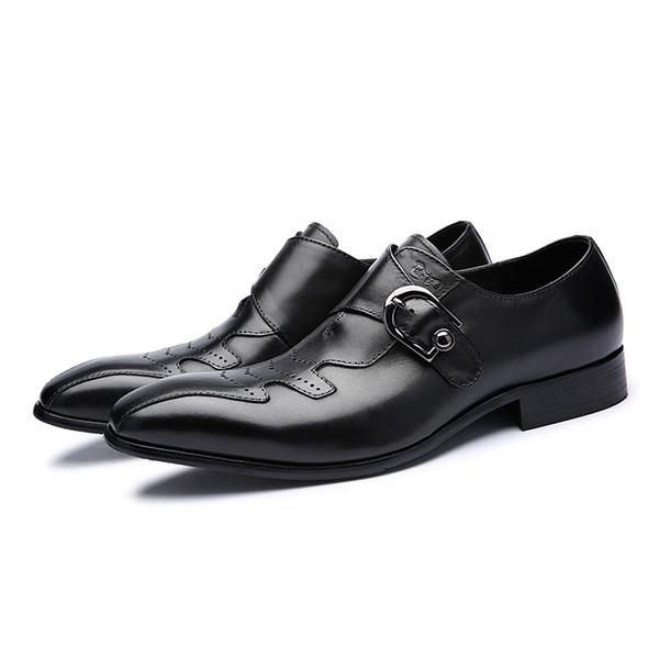 Italian Fashion Men Black Brown Dress Shoes Genuine Leather Slip On Man Formal Suit Footwear with Buckle #185-01