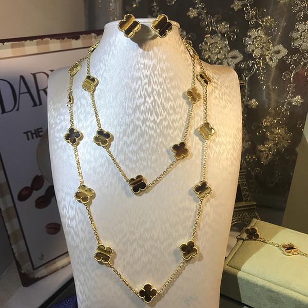 Kadınlar için marka 925 gümüş dört yapraklı çiçek takı seti düğün kolye bilezik küpe kahverengi kaplan gözü yonca anne kabuk CZ takı