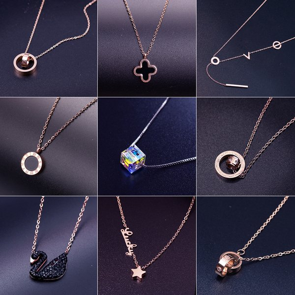 titanium steel clavicle chain simple necklace female Japan and South Korea creative necklace female 18K rose gold technology does not fade