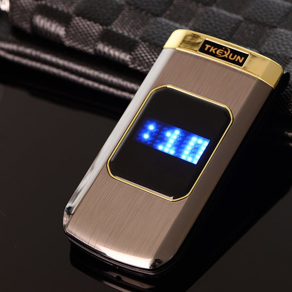 Luxury Flip 2.4 inch Double touch Screen Metal Body Dual SIM Card MP3 FM Gold cellphone Big keyboard letter Fashion design mobile cell phone