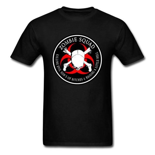 Camiseta del cráneo de los hombres Nueva camiseta con estilo de la novedad Divertido impresión del cráneo negro 3d camiseta para los hombres Biohazard Zombie Squad Ring Parche contorno