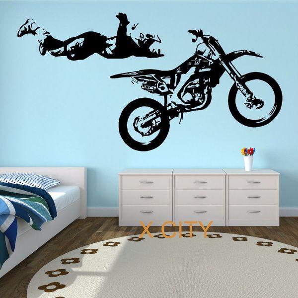 MOTOCROSS STUNT MOTORBIKE MX X GAMES Street Cool Creative Wall Sticker Vinyl Art Decal Window Stencil Room Decor