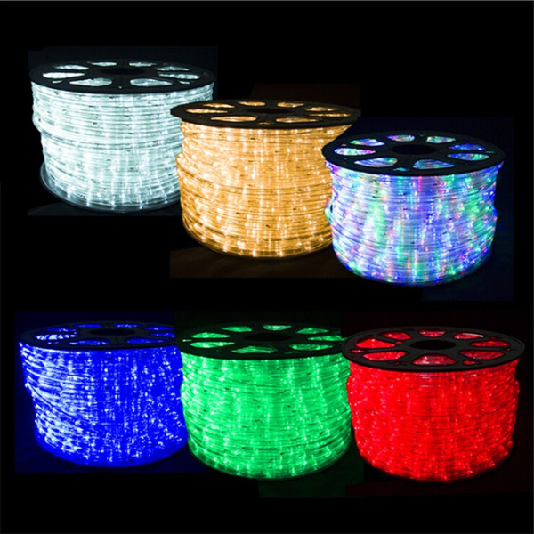 detailed look f81d7 85943 100Meters 110v 220v 2 Wire Round LED Rope Light Flex LED Strip Lights PVC  Indoor Outdoor Lighting String Disco Bar Pub Christmas Party Led Strips ...