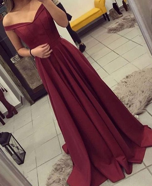 2018 Burgundy A Line Prom Dresses Off The Shoulder Satin Floor Length Simple Style Formal Long Evening Party Celebrity Gowns