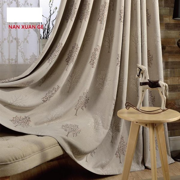 Customized Korean modern curtain living room finished products All blackout cotton and jacquard garden curtain bedroom