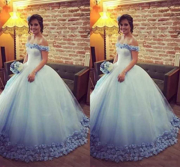 2018 Light Blue Quinceanera Dresses Ball Gown Off the Shoulder 3D Handmade Flowers Tulle Sweet 15 Dresses Vestido de quinceanera de oro