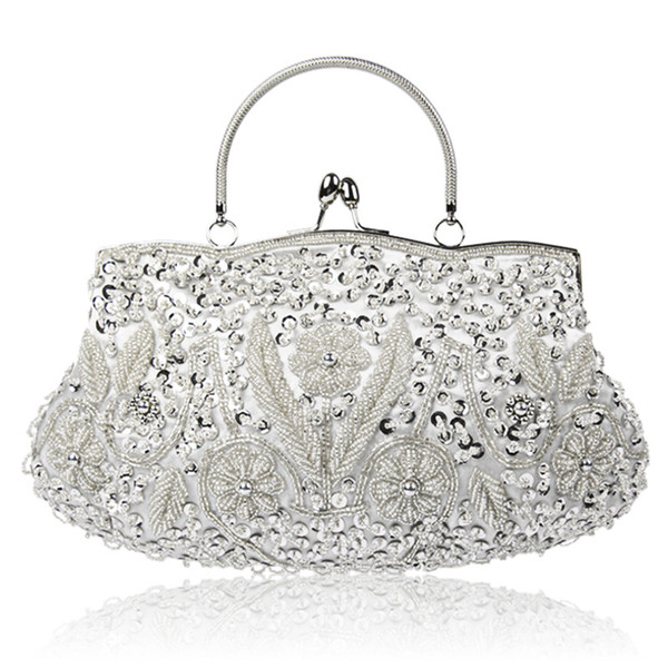 Vintage hand-made beaded evening bags for women hot sale multi-colors ladies cosmetic bag