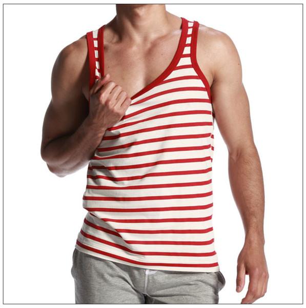 Newest design Men's stripe Cotton Tank Tops Mens slim fit Vest male red striped Tank Tops Running Vest sleeveless shirts