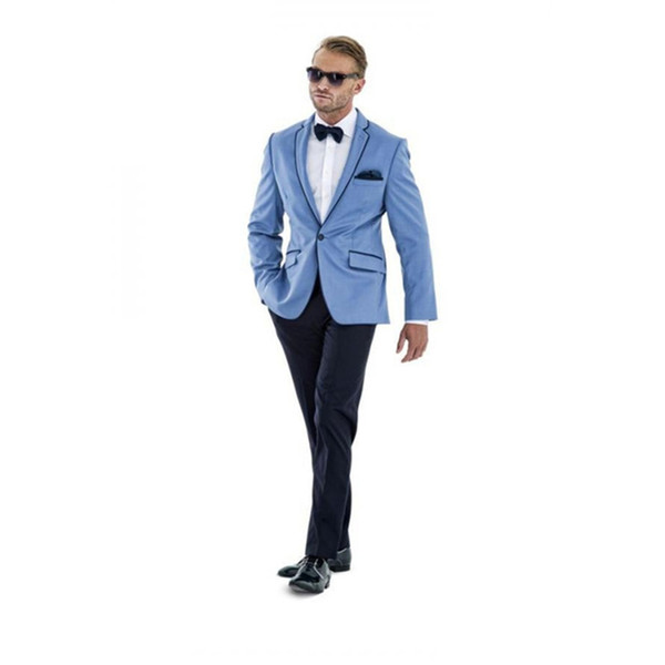 2017 New Mens Suits Groomsmen Notch Lapel little blue Groom men Tuxedos One Button Wedding Best Man Suit (Jacket+Pants+Tie)