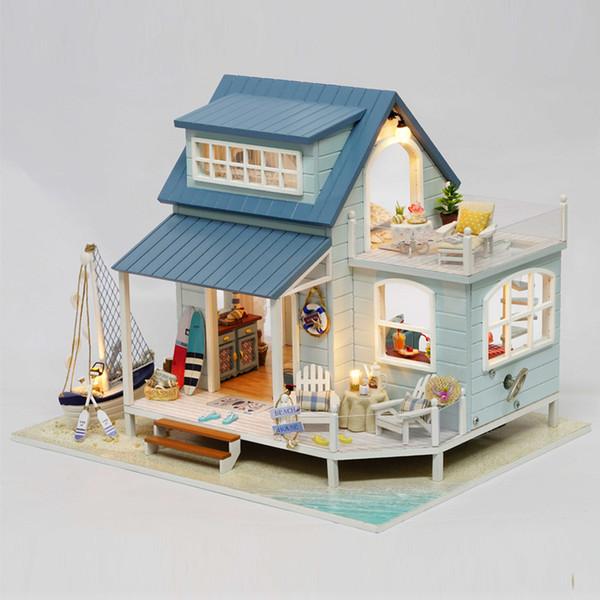 Maison de poupée en bois DIY Miniature Dollhouse Furniture Jouets faits main Maison de plage pour poupées Jouets éducatifs pour enfants Cadeaux