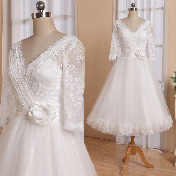 50s Wedding dress Lace Top Tulle Skirt Lace Scalloped edge at Skirt Hem Tea Length Bridal Gowns V Neck RLL025