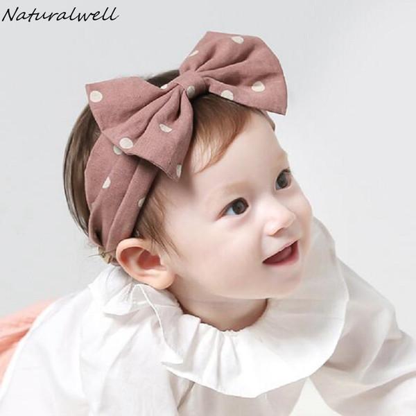 Naturalwell Personalized Child Stirnband Neugeborenes Geschenk Kinder Verband Rosa Gilrs Haarknoten Headwrap Geknotete Tupfen Haarband HB135
