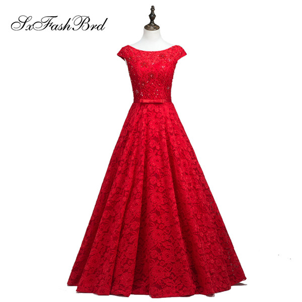 Girls Dress Elegant Sexy Boat Neck With Beading Short Sleeves Long Lace Party Formal Evening Dresses for Women Prom Dress Gowns