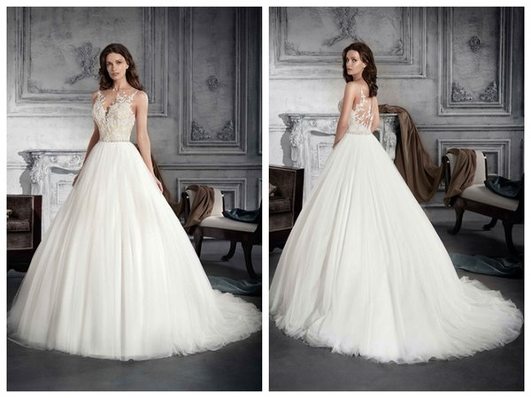 2019 Wedding Dresses robe de mariée Demetrios 763 Ivory Tulle A Line Sheer Neck Applique Buttons Crystal Waistband Wholesale Custom Made