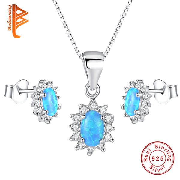 BELAWANG For Women Popular Blue Opal Pendant Necklace&Stud Earrings 925 Sterling Silver Jewelry Sets Wedding Gift