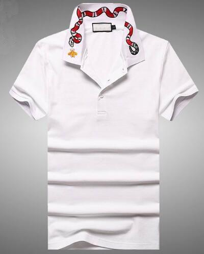 Trend White Men Solid Polo Shirts Snake Bee Embroidered collar Cotton Italy Polo shirt Short sleeve Tops shirt Polos Black