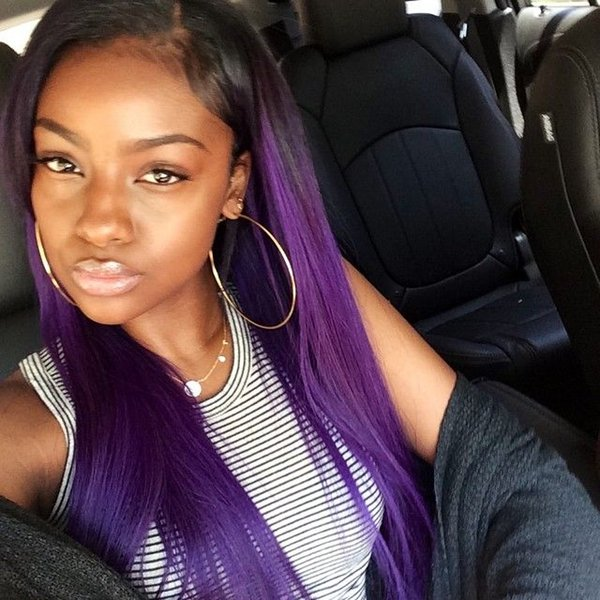 Straight Ombre 1B Purple Human Hair Lace Wig Full Lace Wig Swiss Lace Peruvian Virgin Hair Human Hair Wigs for Black Woman