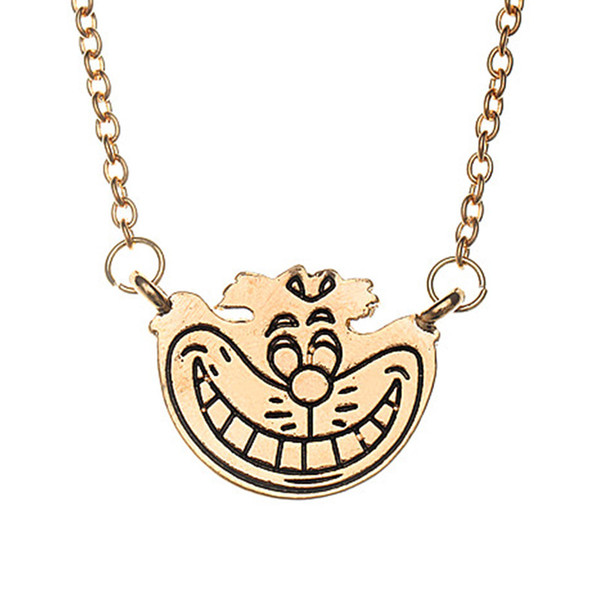 Alice In Wonderland Cheshire cat Necklace Gold smile face pendants for women kids fashion jewelry Christmas gift