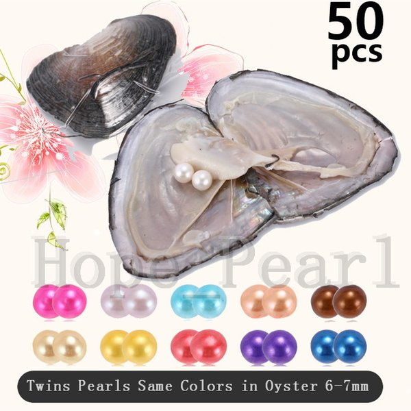 50PCS 6-7mm Mix 30 Colors Twins Pearls Same Colors In Freshwater Oyster Individual Vacuum Package Colorful Round Pearl DHL Free Shipping