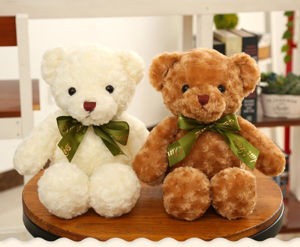 35cm Soft Cuddly Kids Toys Small Teddy Bears with tie Stuffed Plush Toys for Children Girls GF Birthday Gifts