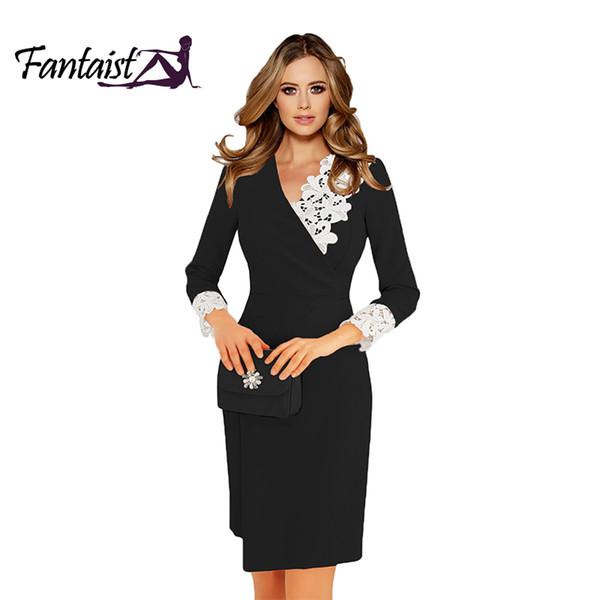 Fantaist Großhandel Frauen Appell Herbst Kleid Wrap V-Ausschnitt Spitze Vintage Arbeit Büro tragen Hülse mit drei Vierteln Mantel schwarze Kleider