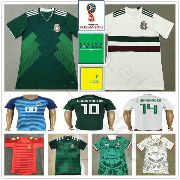 Camiseta de fútbol de la Copa Mundial de México 2018 H.LOZANO G.DOS SANTOS HERNANDEZ CHICHARITO M.LAYUN H.HERRERA O.PERALTA Camiseta de fútbol personalizada