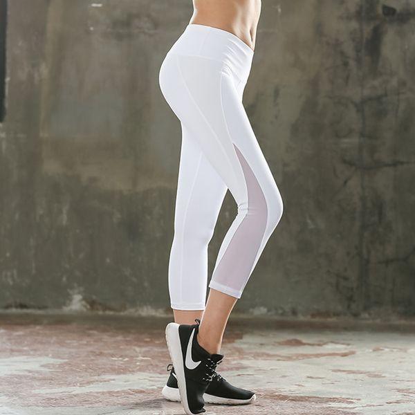 Frauen weiß Capri Legging hochwertige schnell trocknende elastische Bleistift Hosen Frau Push-up Mesh Legging Sommer