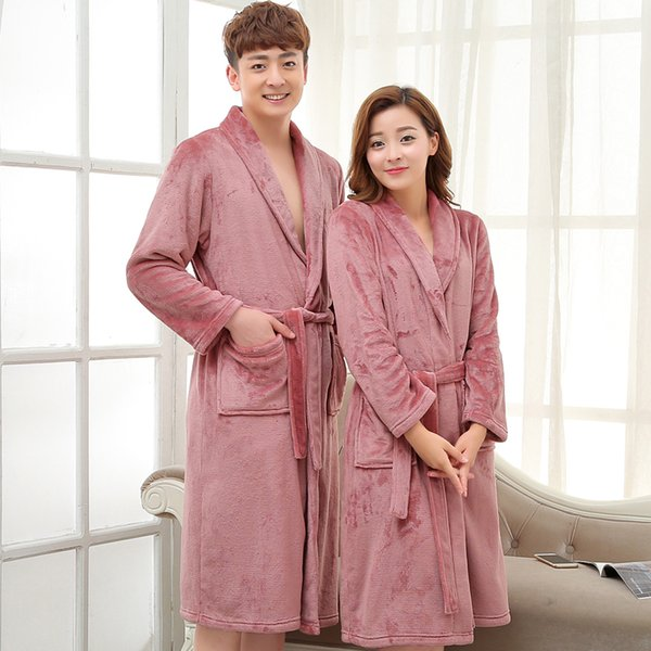 Acheter Hommes Femmes De Luxe Gris Soie Flanelle Longue Robe De Bain Mens Kimono Peignoir Mâle Robe De Chambre Badjas Amoureux Vêtements De Nuit