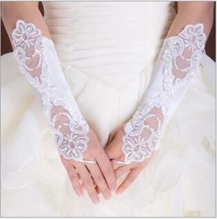 Hot Sale White Ivory Red Short Lace Bride Bridal Gloves Wedding Gloves Crystals Wedding Accessories Fingerless Lace Gloves for Brides