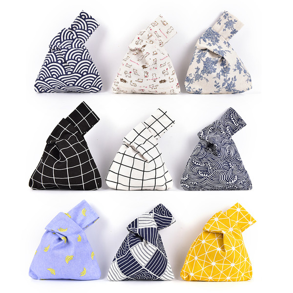 New Grid Wave Flower Handmade Square Bag Japanese Style Wind Simple Knot Wrist Bag Mobile Phone Key Small
