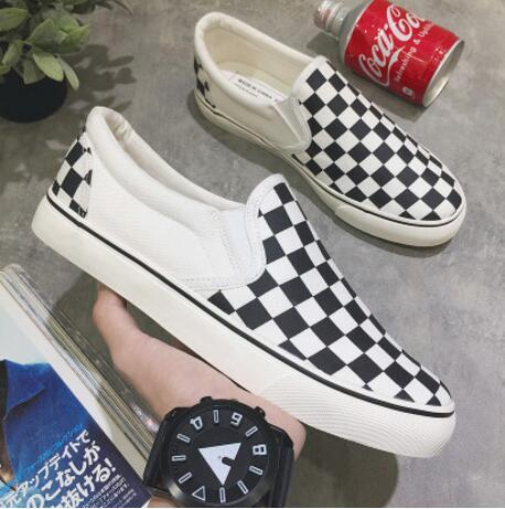 Spring and summer new canvas casual shoes Low-cut flat white square lattice breathable tennis shoes Youth men and women training shoes