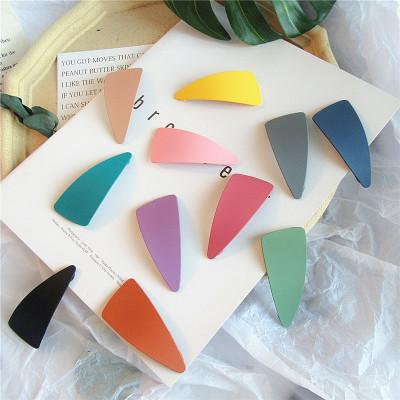 top popular Frosted textured cream triangles hairpin children hair accessories 2019