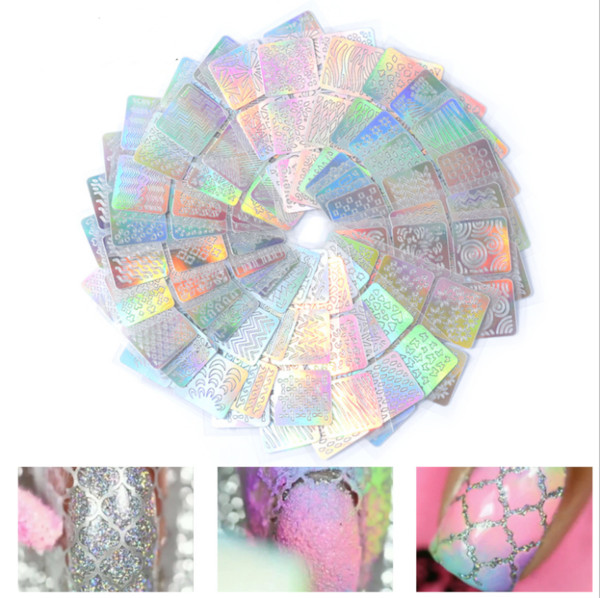 24sheets/lot Nail Art Sticker 3D Laser Hollow Nail Vinyls stencil Stickers Silver Irregular Stencils Stamping Guide Decals Manicure Tools