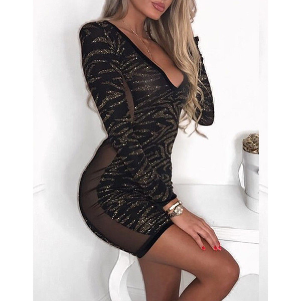 New Women Sexy Dress Sequins Deep V-neck Bodycon Mini Dress Long Sleeve Women Clothes New Fashion Dress Female