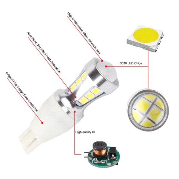 2Pcs W16W Led Bulb Canbus No Error T15 Led 1000LM Wedge Reverse Lights 921 912 Car Light Bulbs Auto Lamp White 6000K 12V