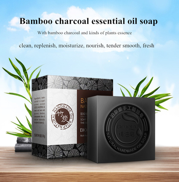 Free shipping 100g deep clean and pore shrink bamboo charcoal essential oil soap rose face soap blueberry soap wash hair