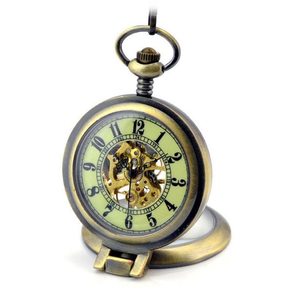 6bb7cae43b2 Luminosa Lupa Esqueleto de Bronze Automático Mecânico Relógio de Bolso  Homens Mão Vintage Relógio de Vento