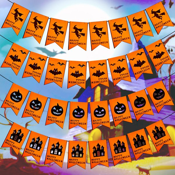 1set Halloween Pumpink Bats Non-woven Flags Banner Halloween Hanging Flag Party Scene Supply 8pcs with 3meters rope Home Decor