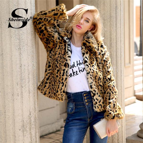 Sheinside Leopard Print Winter Jacket Faux Fur Coat Women Outerwear With Lining 2018 Warm Soft Parka Overcoat Womens Coats