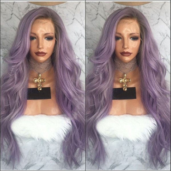 Fashion girll hair purple ombre body wave synthetic lace front wigs with dark roots long purple heat resistant fiber hair women wigs