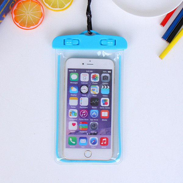 Free shipping wholesale For Apple waterproof bag Fluorescent cellphone bag with lanyard colorful night light cellphone pouch