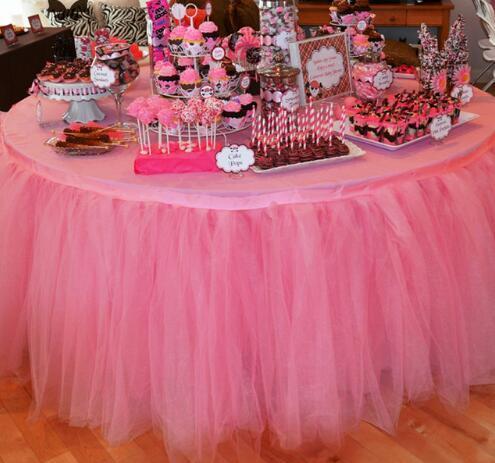 100 * 100 cm Weihnachtsdekor 100% Polyester Tulle Tisch Rock Für Hochzeit Geburtstag Baby Braut Duschen Parteien Tutu Party Supplies