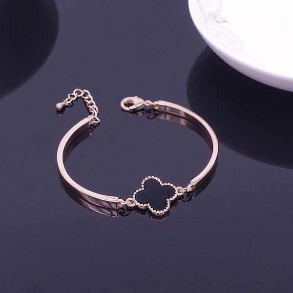 whole sale2016 new fashion Rose Gold Color Four-Leaf Clover bracelets Bangle for Women Fashion Charms Bracelet Jewelry Bijoux