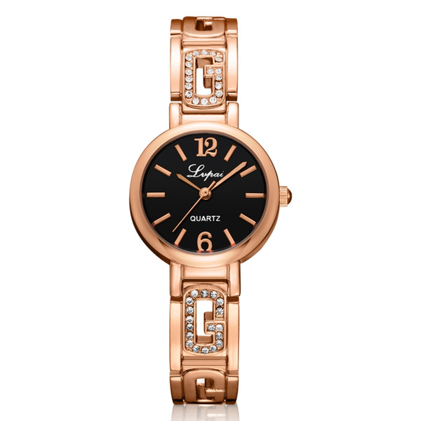 DHL Wholesale Lvpai Luxury Ladies Girl Bracelet Watches Crystal Rose Gold Steel Quartz Wristwatches Clock Diamond Colck Relogio Feminino